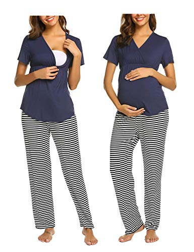 MAXMODA MAXMODA Stillschlafanzug Stillnachthemd Umstandspyjama Stillpyjama Schwangerschaft Nachtwäsche Stillen Nachtwaesche Umstandsmode Schlafanzüge Stillfunktion für Damen