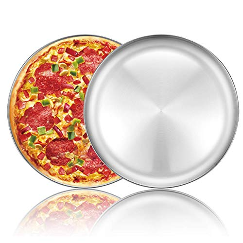 Bandeja redonda para hornear pizza de acero inoxidable de 12 pulgadas para horno, no tóxica y saludable...