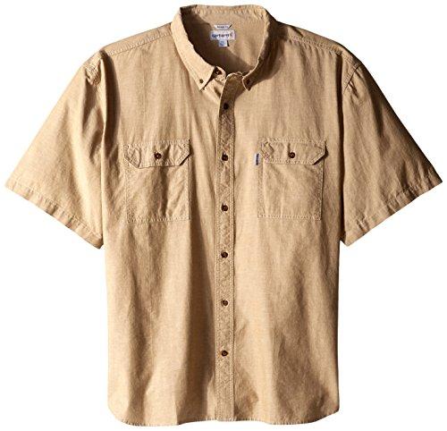 Carhartt Men's Big & Tall Fort Short Sleeve Shirt Lightweight Chambray Button Front,Dark Tan Chambray,XXX-Large - Big And Tall