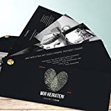 Hochzeit Einladungen, Fingerprint 200 Karten, Kartenfächer 210x80 inkl. weißer Umschläge, Grau
