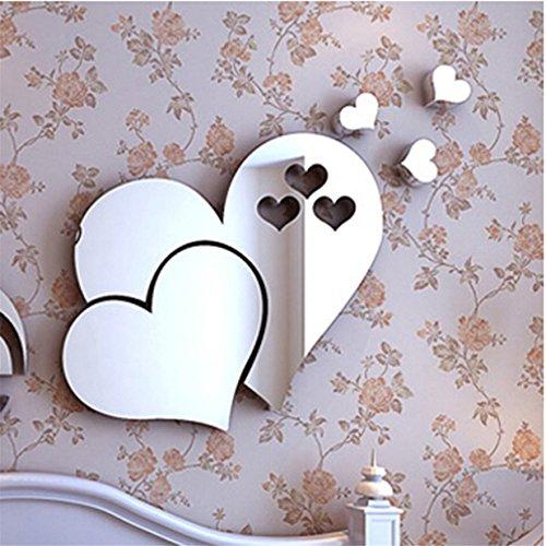 Lalang 45 x 200 cm Dreidimensional Herz Form Wand Aufkleber Badezimmer Spiegel Wasserdicht Wandtattoo (Silber) (Herz Spiegel)