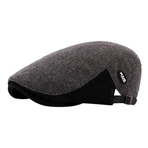 FEITONG Männer Winter Warmer Corduroy Hut Tweed Herren Newsboy Golf Gatsby Ivy Cap Beret Mütze Hut (1PC, Grau) (Spitze Golf)