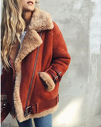 Minetom Damen Mode Warm Casual Streetwear Winter Wildleder Wolle Motorradjacke Mantel Fleece Outwear Jacke Parka Mit Taschen Grau DE 36 - 4