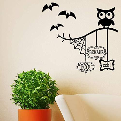 Eule Halloween Thema Wandaufkleber Spinnennetz Fledermaus Für Hauptdekoration Wohnzimmer Hintergrundbild Kunst Aufkleber Pvc Aufkleber 67 * 57 Cm