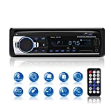 Autoradio Bluetooth, 1 Din Radio de Voiture stéréo vidéo FM Radio 4x60W Poste Radio Support USB/AUX/EQ/SD/ MP3 / ISO avc Télécommande