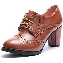 ODEMA Talón de Cabeza Redonda de Las Mujeres Zapatos Botines Oxford de Tacón ...