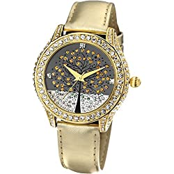 Time100 Ladies' Wishing Tree Diamond Golden Leather Strap Fashion Watch#W50022L.02A