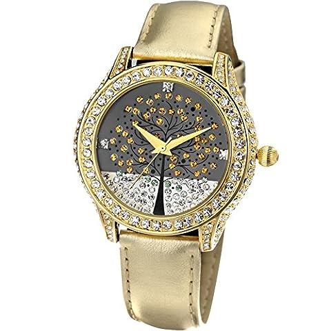 Time100 - Montre à Quartz Diamants Femme Bracelet en Cuir Arbre de la Vie Romantique Mode Or Brillant Cadeau Parfait-