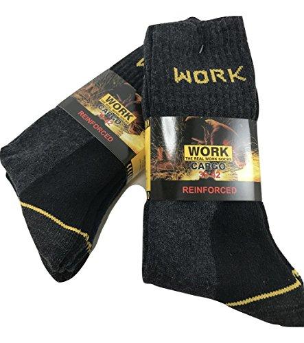 Planet socks 6 paia calze antinfortunistiche lavoro rinforzate spugna di cotone tallone e punta nero asssortito (39-42, nero)