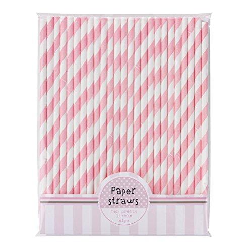 WINOMO 30pcs bere cannucce a strisce di carta Straws(Pink+White)