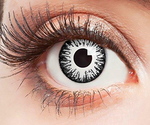 Farbige Kontaktlinsen Motivlinsen Ohne Stärke mit Motiv Weiße Linsen für Halloween Karneval Party Fasching Cosplay Kostüm White Screen Weiß