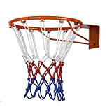 Ndier Rete Canestro da Basket, Anello a Rete Canestro in Nylon per Pallacanestro Rosso Bianco e Blu,2 Pcs