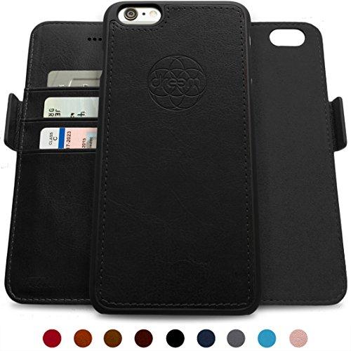 ftasche & Schutz-Hülle für iPhone 6-Plus, magnetisch herausnehmbares TPU Case, dünn bruchfest, 2 Standfunktionen, hochwertige synthetische Leder-Tasche, RFID Schutz - Schwarz ()