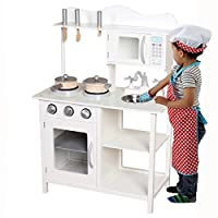 Kids Wooden Play Kitchen Pretend Toy Cooking Role Play - White
