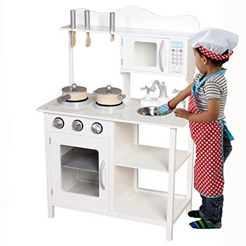 Kinder Holz Küche Pretend Spielzeug spielen Kochen Rolle spielen–weiß (Spielen Küche Baby)
