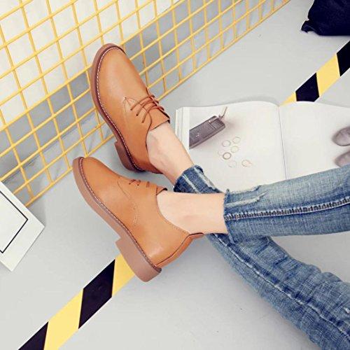 Hunpta Frühling Frauen Mode flachem Absatz Schuhe Casual Frauen Schuhe Spitze Schuhe Braun