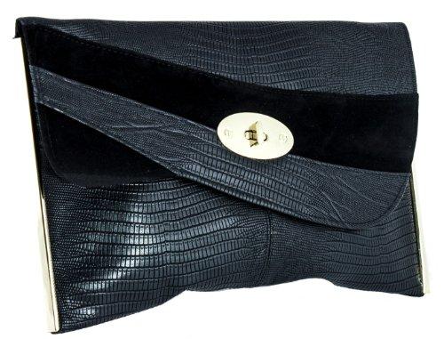 Girly HandBags New Suede Croc Leather Clutch Bag Flat Envelope Gold Lock Vintage Designer Black