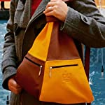 Hands-free Handbag Yellow Brown - handmade-bags