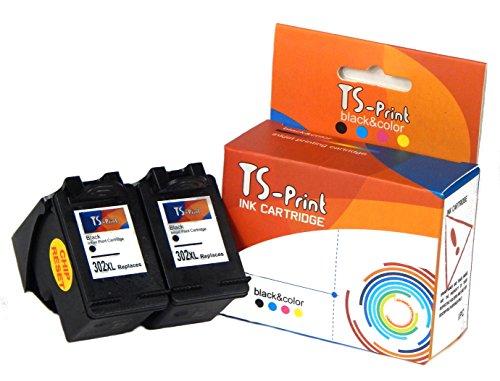 TS-Print Conjunto de 2 Cartuchos de Tinta compatibles con 2X HP-302-XL Negro Black
