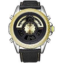 Deporte Multifunción Relojes de Hombre, Calendario Alarma Piel sintética EL Ligero Relojes Analógico-Digitales