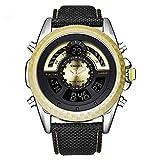 Deporte Multifunción Relojes de Hombre, Calendario Alarma Piel sintética EL Ligero Relojes Analógico-Digitales, Dial Amarillo