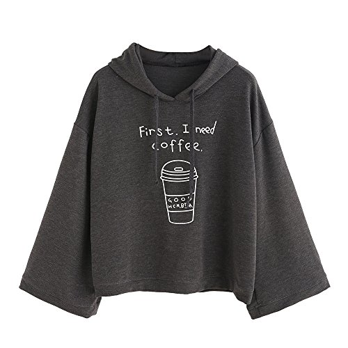 Lonshell_Damen Tops Damen Kapuzenpullover First I Need Coffee Drucken Bluse Lange Ärmel Lose Sweatshirt Pullovers (Grau, L) -