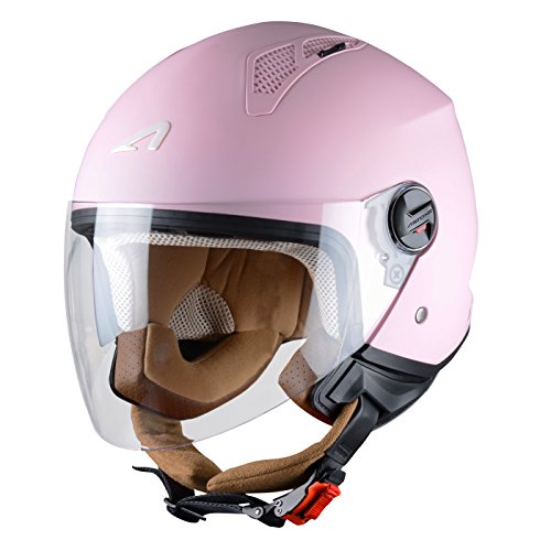 Astone Helmets Mini Jet Army Casco Jet, color Rosa Claro, talla S