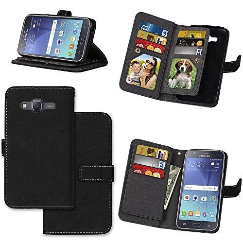 J5 Hülle, Samsung Galaxy J5 Hülle, Samsung Galaxy J5 Case, Anlike Schutzhülle für Samsung Galaxy J5 (5,0 Zoll) Ledertasche Flip Hülle Wallet Case Tasche Cover Handy Zubehör Lederhülle Handyhülle [Klassische Normallackserie] [Sand scheuern rutschfest] 9 Kartensteckplatz Handyhülle mit Kartenfach und Standfunktion - Schwarz 5.0 Handy