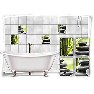 Medianlux Fliesenaufkleber Fliesenbild Zen Steine Bambus Grün Wellness SPA Aufkleber Sticker Deko Bad WC, 20x25cm