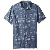 Quiksilver Men's Mad Wax Printed Shirt Woven, Vintage Indigo Madwax Shirt, M