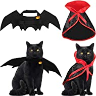 4 Pieces Halloween Cat Costume Cat Cape Bat Costume Wings with Pumpkin Bells for Halloween Pet Costume