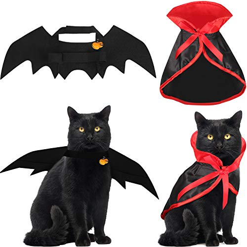 Boao 4 Stücke Halloween Katzen Kostüm Katzen Kap Fledermaus Flügel mit Kürbis Glocken für Halloween Haustier Kostüm (Machen Fledermaus Flügel Kostüm)