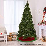 Olsen & Smith 230 cm 1346 Punte Albero di Natale in Pino Artificiale Pre Illuminato con 500 luci a LED Bianche Calde con Gonna Decorativa circostante