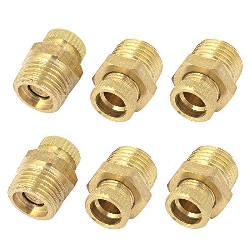 SODIAL(R) 6 Stk Luft Kompressor 1/4PT Aussengewinde Wasser Abflussventil Gold