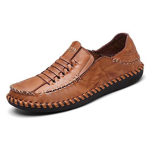 Eastlion Herren Leder Boot Schuhe Loafer Slip auf Deck Schuhe für Casual und Arbeit Braun