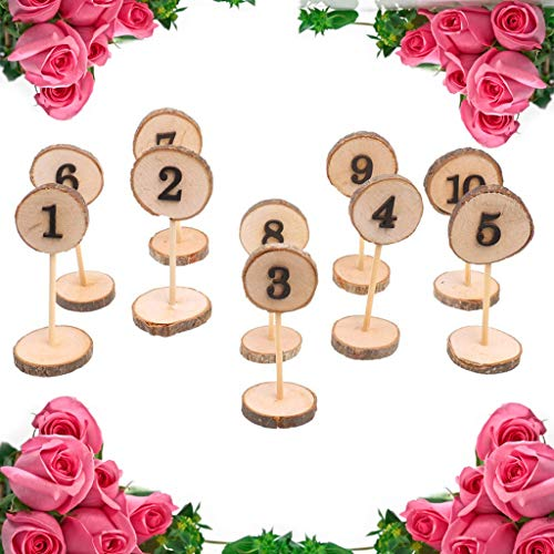 hahuha  Rustikales hölzernes hängendes OrnamentWedding Tabellen-Inneneinrichtung 1-10 Zahlen