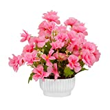 #2: PG Creations Blossom Artificial Flowers Plants Bunch with Vase Pot, Height 20 cm, Light Pink