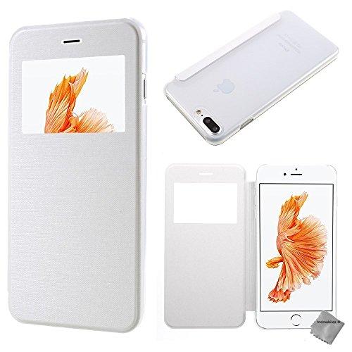 Housse etui coque portefeuille view case pour Apple iPhone 8 Plus + verre trempe - OR Blanc view + verre