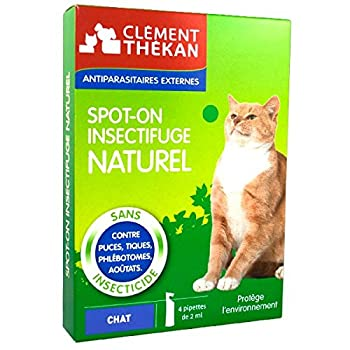Clément Thékan - Spot-On Insectifuge Naturel - Chats - 4 Pipettes de 2 ml