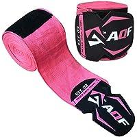 Cintas elásticas de levantamiento de pesas de la marca AQF, guantes interiores, vendas, 4,5m, para boxeo, artes marciales mixtas, muay thai, color rosa, tamaño 4.5 Meter