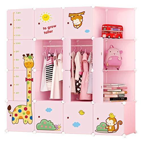 Armoi armadio portatile guardaroba set di armadi componibili per cameretta ragazzi rosa 13-cubo con scaffali