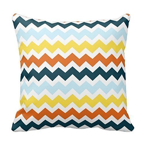 WITHY Unique Blue Orange Yellow Chevron Decorative Pillow Best Pillowcase Custom Zip Throw Pillow Case Cover (Standard),Cover Size:16 x 16 Inch(40cm x 40cm) -