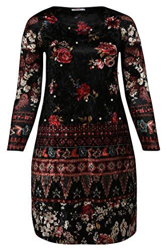 PAPRIKA Damen große Größen Velours-Kleid mit Blumendruck und Perlen schwarz L (48)
