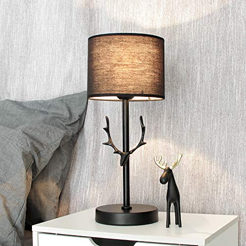 D antler dimmable table lamp bedroom bedside hotel black study lamp Christmas decoration home ()