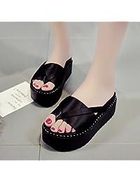 LIXIONG zapatillas Hembra verano Moda Ropa exterior Fondo grueso estudiante zapato, Con altura 5cm, 2 colores...