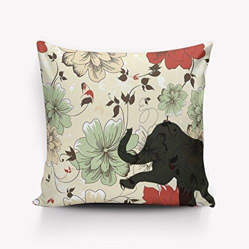 Jhonangel Almohada de Elefante de Flores Funda de cojín Funda de Oficina Oficina Cuadrado Decorativo 18x18 Pulgadas