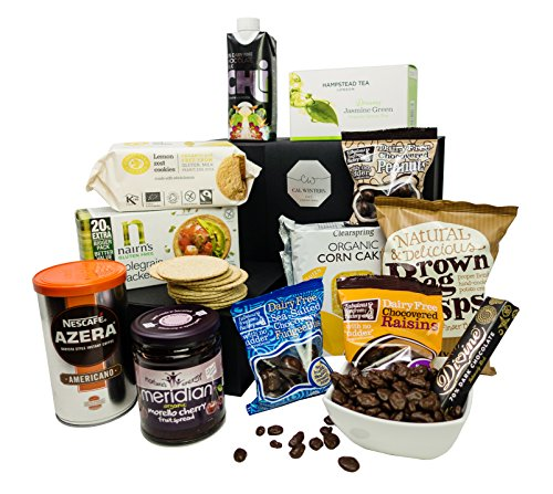 Ultimate Dairy Free Gift Set – Gourmet Gift Hamper Curated by Cal Winters. Delicious Dairy Free Cookies, Crisps, Popcorn, Corncakes, Tea, Brownies & More. Presented in a Luxury Gift Box