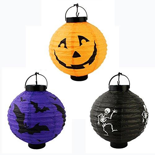 3x lanterne di carta Shades Partito Bat Skeleton Halloween luci a forma di rotonda Oct 31Cute