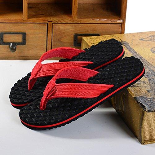 Estate Sandali Pantofole massaggi confortevoli antisdrucciolevoli maschili Pattini da spiaggia casuali maschi e femmine esterni (bianchi, neri, rossi) Colore / formato facoltativo Rosso