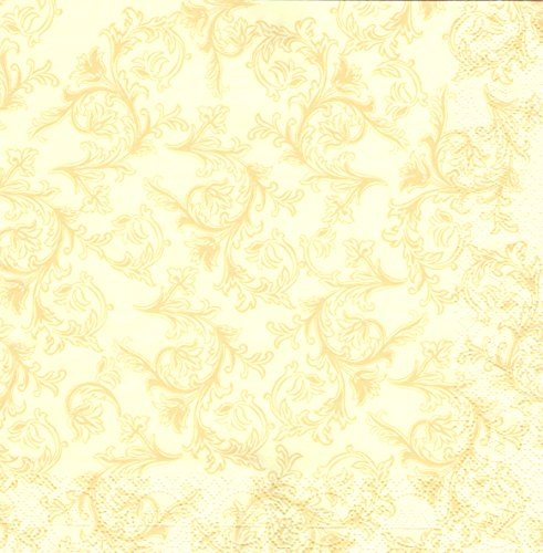 Servietten ORNAMENT Premium TISSUE, CREME | 50 Stück | 40 x 40cm | 3-lagig | 1/4 Falz | hochwertige Serviette für Hochzeit, Geburtstag, Feier, Taufe, Kommunion | made in Germany by HANTERMANN (Beige Servietten)